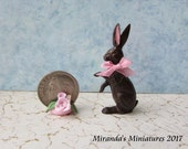 Dollhouse Miniature chocolate Bunny Rabbit small