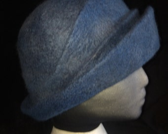 Wet felted cloche style formal hat