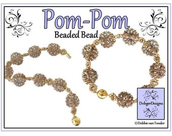 Beading Pattern, Tutorial, Beaded Bead, Bracelet, Earrings - POM-POM