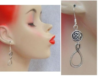 Silver Celtic Infinity Knot Charm Drop/Dangle Earrings Handmade Hook Irish Accessories Fashion
