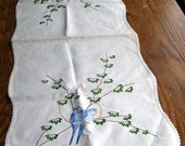 Vintage Hand Enbroidered Blue Parakeets Dresser Scarf, Vintage Linens for Your Favorite Room, Long buffet Table Scarf, Loving Blue Parakeets