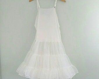Vintage White Petticoat Crinoline Tulle under Slip Dress XS 32