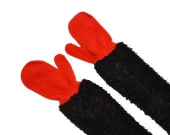 Childrens Long Mittens, toddler mittens, baby mittens, red mittens, black