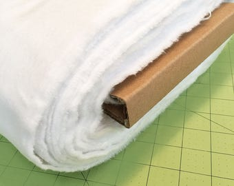 White Flannel By the Yard, Solid White Cotton Flannel Destash