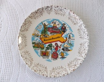 Vintage Massachusetts Souvenir State with Plate Gold Filigree Border Retro Decorative Collector Travel Vacation Kitsch