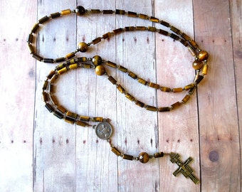 Brown Franciscan Crown Rosary of Tiger Eye with Bronze Saint Francis Center and San Damiano Cross