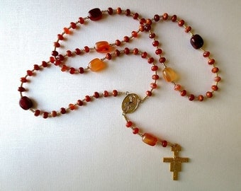 Red Orange Franciscan Crown Rosary of Fire Agate and Carnelian with Saint Francis Center and San Damiano Cross