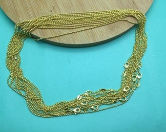 12pcs 1.5mm 17.5 inch gold color ball chain necklace with lobster clasp