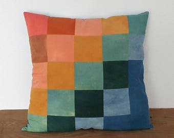 Quilted Rainbow Squares Pillow in Naturally Dyed Organic Cotton
