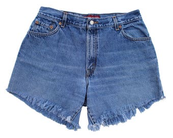 Vintage Levi's 550 Classic Relaxed Denim Cutoffs Size 14 fits like 30 Redone Shorts High Rise Levis #2