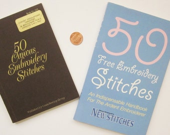 Two Little Embroidery Handbooks, 50 Canvas Embroidery Stitches and 50 Free Embroidery Stitches