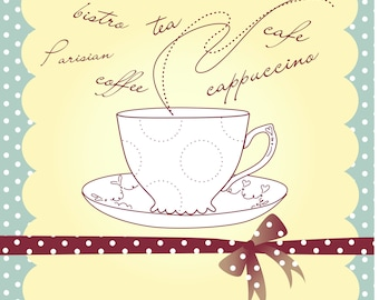 Cup of Coffee or Tea Vector Illustration 2-Digital Clipart-Background-Scrapbook-Notebook-ClipArt-Art Clip-Gift Card-Website-Banner-Gift Tag.