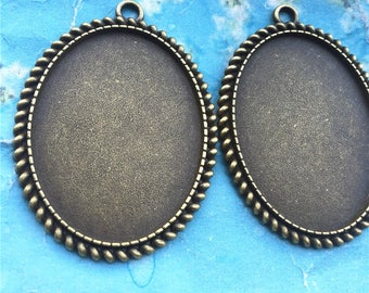 NEW COME 5pcs 52x34mm antiqued Bronze oval cameo/cabochon base setting pendant blanks/bezel trays(40x30mm incavity)