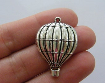 4 Hot air balloon charms antique silver tone TT86