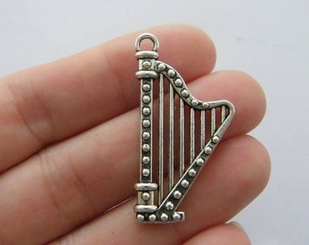 4 Harp charms antique silver tone MN66