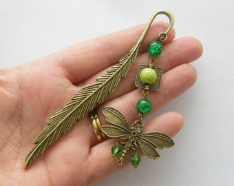 1 Feather dragonfly bookmark 116mm antique bronze tone BM2