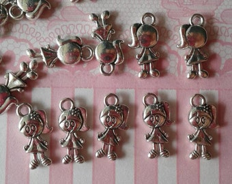 12,Little Girl Charms,Ready to Ship