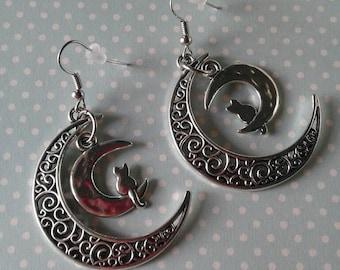 Cat and Moon Earrings,Crescent Moon Earring,Cat Earrings,Large