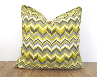 Gray pillow cover 18x18 for dorm room decor, green chevron cushion case, geometric pilllowcase green and gray decor