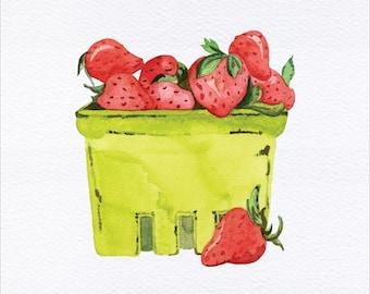Pint of Strawberries Unframed Watercolor Art Print