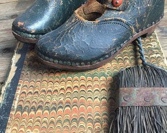 Antique childrens shoes leather with wooden sole Navy rustic European childrens shoe