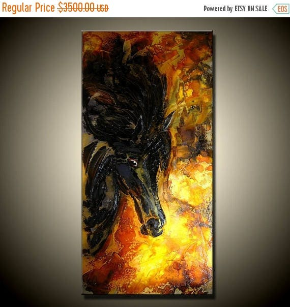 Original Textured Abstract Art, Figurative Impressionism Horse Painting, Modern rich textured Fine Art,by Henry Parsinia Large 48x24