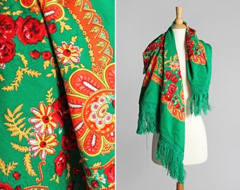 Vintage Kelly Green Gypsy Scarf - Fringe Floral Paisley Orange Square Shaped Red Yellow Boho Bohemian Large Spring Summer