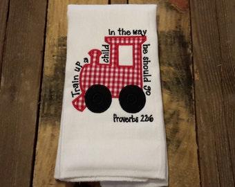 Boy burp cloth/biy baby shower gift/train up a child burp cloth