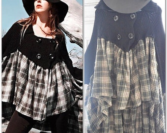 Boho poncho sweater, Bohemian gypsy, country tunic dress Rustic country girl flannel sweater, dress, Black sweater, True Rebel Clothing