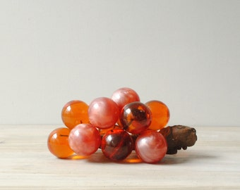 Vintage Lucite Grapes, Pink and Orange Grapes, Mid Century Grapes