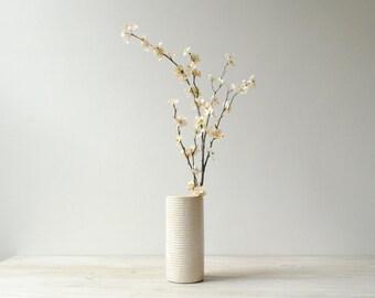 Vintag Flower Vase, White Vase, Ribbed Modern Vase