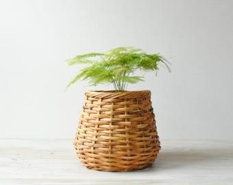 Vintage Bamboo Basket, Plant Basket
