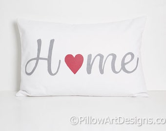 Home Pillow White Lumbar Pillow with Word Home 12 X 18 Cotton Made in Canada