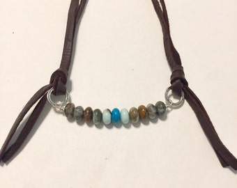 Leather and Turquoise Necklace, Boho Jewelry, Long Leather Necklace with Gemstone Beads, Brown Leather Double Strand Necklace
