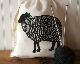 Knitting Project Bag, Organic Linen Drawstring Bag, Black Sheep Design