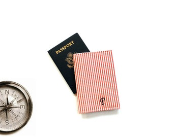 Passport cover, customize personalized initial, red cream ticking cotton fabric covered passport case holder, traveler gift