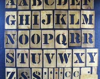 Stencil Jumbo Alphabet Complete Signmaker Brass 1930s 1940s Graphic Design