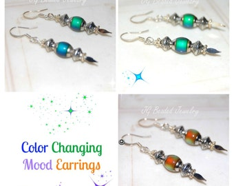 Color Changing Mood Earrings, Mood Jewelry, Beaded Mood Earrings, UNIQUE