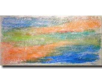 Original Large Abstract painting - 24 X 48  Artist JMJartstudio-  Virtues -Wall art - Orange painting-Oil painting