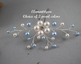 Something Blue Hair Pin, Wedding Hair Accessories, Silver gold wired vines, Swarovski White Blue pearls. Bridesmaid hair do Bridal Bride pin