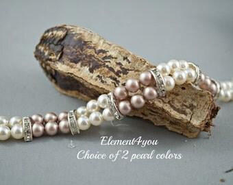 Bridal Jewelry, Bridal bracelet, Two 2 strands bracelet, Bridesmaid bracelet, Maid of honor, Swarovski cream champagne pearls, Handmade