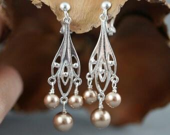 Chandelier earrings, Pearl earrings, Choice of Clip ons or fish hook earrings, Bridesmaid earrings, Bridal party gift, Leaf earrings.