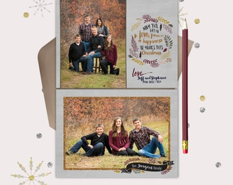 Rustic Copper Fall Christmas Photo Card · Woodland Leaves Christmas Cards · printable files