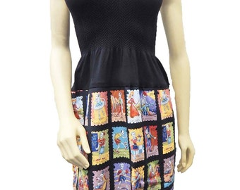 "US Handmade Fancy DRESS With ""Carteras Loteria "" Pattern, Cotton Fabrics, Uni-Size, Fits; S, M, L, XL, New"