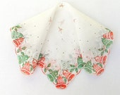 Handkerchief Holiday Bells Hand Painted Christmas Vintage