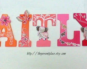 7 wooden letters,customized,room decor,elephant letters,butterfly letters,letters for girls,wall art,kids names,baby's name,coral,orange