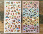"""Cute """"Fox & Raccon"""" and """"A Year of Cats"""" sheet of Stickers at your choice for scrapbooking, gift message, Bookmark, Packaging, Party favor"""