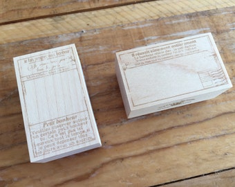 New-Japanese Wooden Rubber Stamps - Vintage / Antique Label Stamps for Journaling, Scrapbooking, Packaging