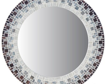 Round Mosaic Wall Mirror - Eggplant Purple, Smoky Gray, Light Gray