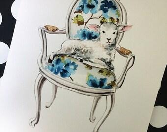 Lamb Watercolor Print
